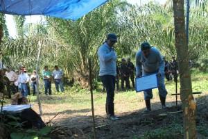 Los expertos forenses colocan marcas antes de excavar